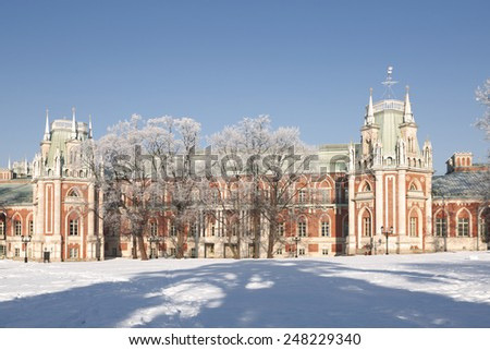 MOSCOW, RUSSIA - JANUARY 22, 2015: The Grand Palace in Tsaritsyno in winter, Moscow, Russia - stock photo