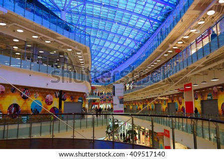"MOSCOW, RUSSIA-January 2015. The interior of the shopping center ""Aviapark"" in Moscow."