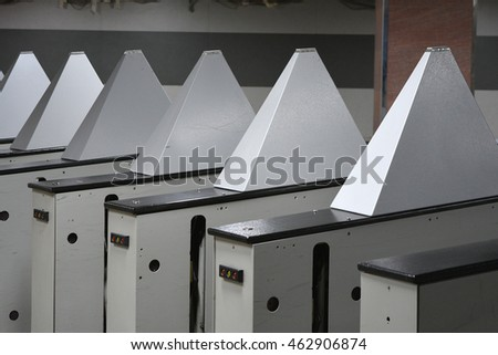 Moscow, Russia - January 21, 2016: the Turnstiles in the Moscow metro - Rizhskaya line