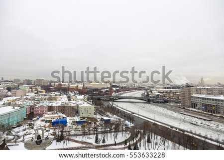 MOSCOW, RUSSIA - JANUARY 10, 2017: View of the capital city in the winter from the roof of the Cathedral of Christ the Savior