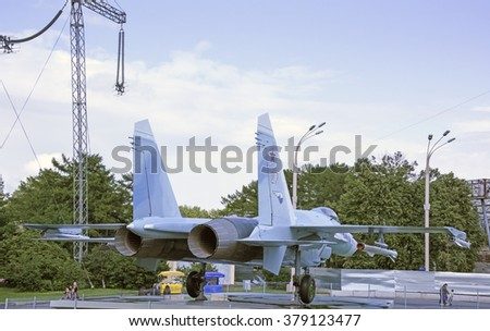 MOSCOW; RUSSIA- JULY 13- Aircraft Su-27 fighter air supremacy on VDNH  on July 13; 2015 in Moscow