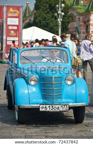 MOSCOW,RUSSIA-JULY 10: Blue Moskvich (vintage car USSR) in the arrival beginning annual Rally of classical cars Zolotoe kol'co on Red Square, on July 10, 2010 in Moscow, Russia - stock photo