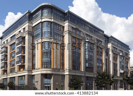 MOSCOW, RUSSIA - JULY, 16. Buildings of the new luxury residential complex Four suns in the center of Moscow, Russia on July 16, 2015. - stock photo