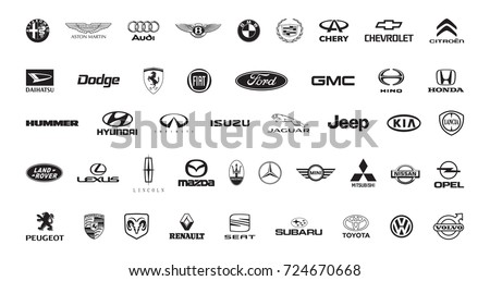 Moscow, Russia - July 21, 2017: Collection of popular car logos, printed on paper in black inks