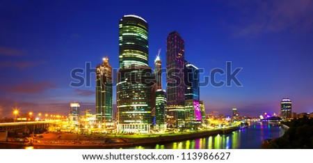 MOSCOW, RUSSIA - JULY 4: Construction of Moscow International Business Center in July 4, 2012 in Moscow, Russia. First conceived project in 1992. Project occupies area of 60 hectares. IBC in night