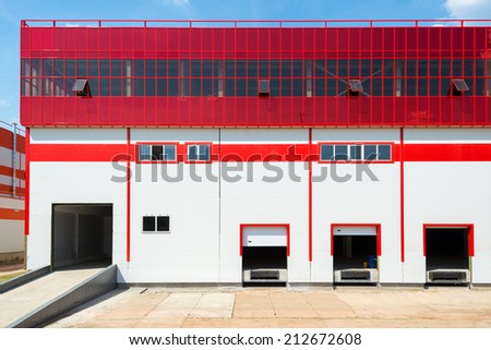 MOSCOW, RUSSIA - JULY 29, 2014: Front view of loading docks of warehouse.
