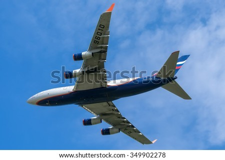 Moscow, Russia - July 19, 2013: Ilyushin Il-96-300 Aeroflot RA-96010 take off at the Moscow Sheremetyevo International airport.