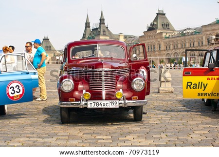 """MOSCOW,RUSSIA-JULY 10:Opel Kapitan 1939 on display at the start annual Rally of classical cars  """"Zolotoe kol'co"""" on Red Square on July 10, 2010 in Moscow, Russia - stock photo"""