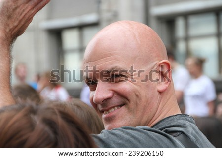 Moscow, Russia - July 18, 2013. Producer Sam Klebanov at the rally in support of Navalny. Thousands of Muscovites went on this day in support of arrested opposition leader Alexei Navalny