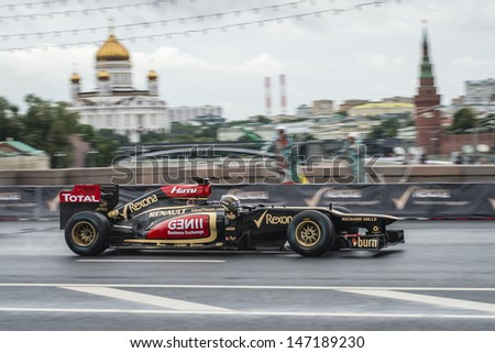 MOSCOW, RUSSIA - JULY 21: Professional Formula 1 Lotus Renault team  in Moscow City Racing Circle, Moscow on 21 July 2013,  - stock photo