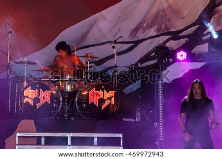 "MOSCOW, RUSSIA - JULY 30: Russian Heavy Metal band ""Aria"" performs at the ""Ariafest"" on July 30, 2016 in Green Theatre, Gorky Park, Moscow, Russia. Aria is most popular Russian rock band."