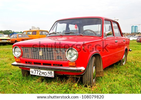 MOSCOW, RUSSIA - JULY 6: Soviet motor car VAZ-2101 Zhiguli exhibited at the annual International Motor show Autoexotica on July 6, 2012 in Moscow, Russia. - stock photo