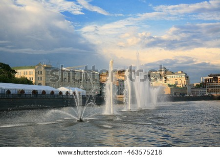 MOSCOW,  RUSSIA -JULY 08, 2013: The drainage channel was constructed in 1783-1786 along the Central bend of the Moskva river near the Kremlin. Together with the Moscow river forms Balchug island.