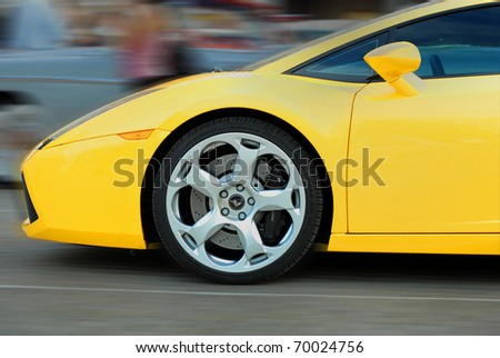 MOSCOW, RUSSIA-JULY 31: Yellow Lamborghini  on exhibition parking at annual event 'Night Moscow Classic Rally'. The sixth race of vintage cars, more than 50 crews, from owners to showstars - stock photo