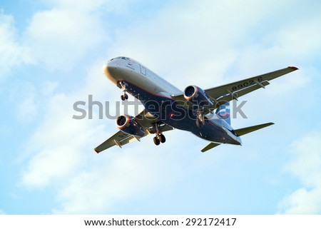 MOSCOW, RUSSIA - JUN 16, 2015: The Sukhoi Superjet 100 of Aeroflot is landing