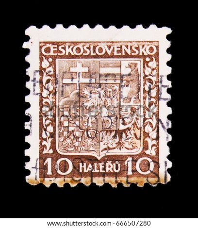 MOSCOW, RUSSIA - JUNE 20, 2017: A stamp printed in Czechoslovakia shows Coat of Arms, circa 1928