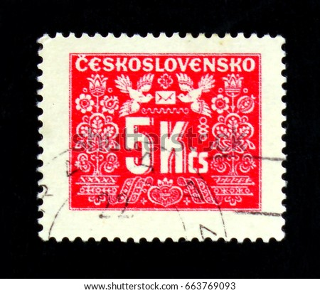 MOSCOW, RUSSIA - JUNE 20, 2017: A stamp printed in Czechoslovakia shows shows Postage due, circa 1946
