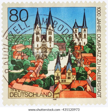 MOSCOW, RUSSIA - JUNE 02, 2016: A stamp printed in Germany shows the ancient German city, devoted to the 1000th Anniversary of the Cathedral Square in 