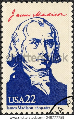 MOSCOW, RUSSIA - JUNE 04, 2015: A stamp printed in USA shows portrait James Madison Jr. (1751-1836), fourth President of the USA, series Presidents of USA, circa 1986 - stock photo