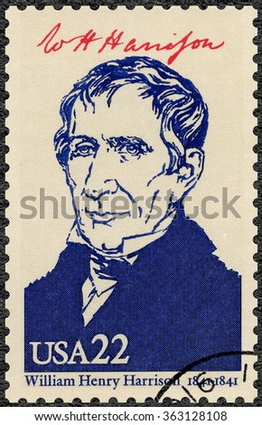 MOSCOW, RUSSIA - JUNE 04, 2015: A stamp printed in USA shows portrait William Henry Harrison (1773-1841), ninth President of the USA, series Presidents of USA, 1986 - stock photo
