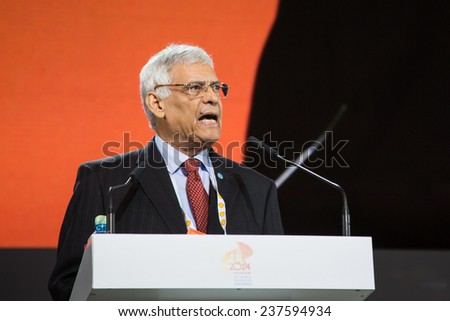 MOSCOW, RUSSIA, JUNE, 16: Abdalla Salem El-Badri, Secretary General of OPEC. 21st World Petroleum Congress, June, 16, 2014 at Crocus Expo  in Moscow, Russia - stock photo
