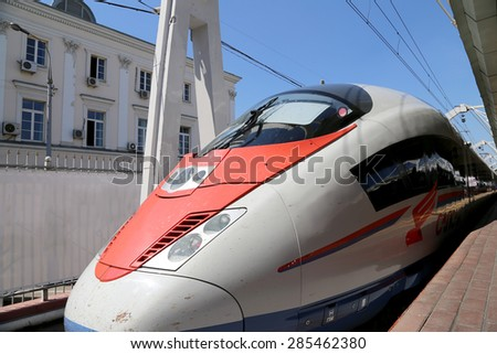 "MOSCOW, RUSSIA - JUNE, 03 2015: Aeroexpress Train Sapsan at the Leningrad station. Moscow, Russia -- high-speed train acquired OAO ""Russian Railways"" for use on the Russian high-speed railways - stock photo"