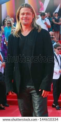 MOSCOW, RUSSIA - JUNE 20:  Brad Pitt visits Moscow on the occasion of the World War Z film premier where he plays a leading role. Taken on June 20, 2013 in Moscow, Russia. - stock photo