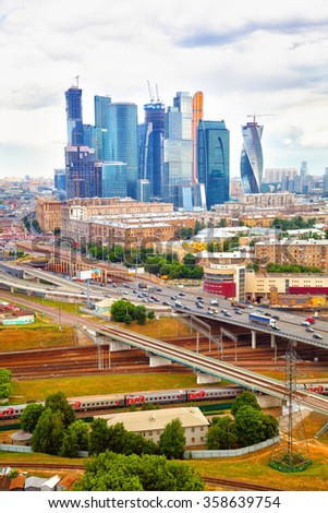 MOSCOW, RUSSIA - JUNE 9, 2014: Business center Moscow City, the movement of vehicles on the Third Transport Ring - stock photo