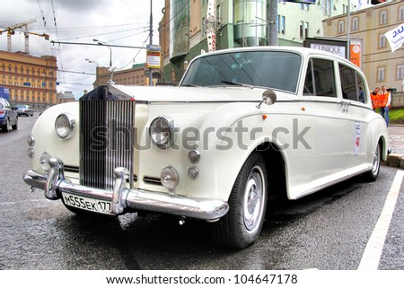 MOSCOW, RUSSIA - JUNE 3: English motor car Rolls-Royce Phantom competes at the annual L.U.C. Chopard Classic Weekend Rally on June 3, 2012 in Moscow, Russia. - stock photo