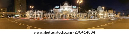 MOSCOW, RUSSIA - JUNE, 10 2015: Facade of Rizhsky railway station (Rizhsky vokzal, Riga station) is one of the nine main railway stations in Moscow, Russia. It was built in 1901   - stock photo