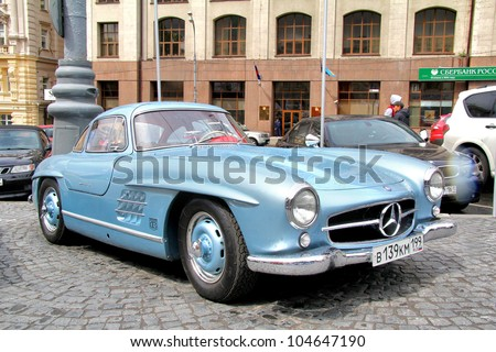 MOSCOW, RUSSIA - JUNE 3: German motor car Mercedes-Benz 300SL competes at the annual L.U.C. Chopard Classic Weekend Rally on June 3, 2012 in Moscow, Russia.