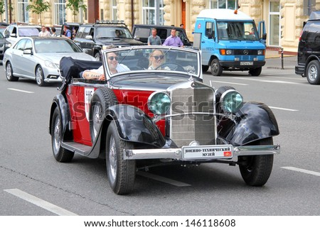 MOSCOW, RUSSIA - JUNE 2: German motor car Mercedes-Benz Type W 18 Typ 290 competes at the annual L.U.C. Chopard Classic Weekend Rally on June 2, 2013 in Moscow, Russia.