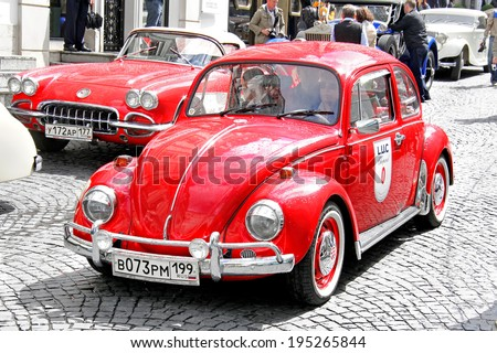 MOSCOW, RUSSIA - JUNE 3, 2012: German motor car Volkswagen Beetle competes at the annual L.U.C. Chopard Classic Weekend Rally. - stock photo