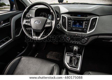 MOSCOW, RUSSIA - JUNE 25, 2017 Hyundai Creta / Hyundai ix25, interior view. Test of new Hyundai Creta / Hyundai ix25. This car is 4WD compact crossover SUV. 2.0