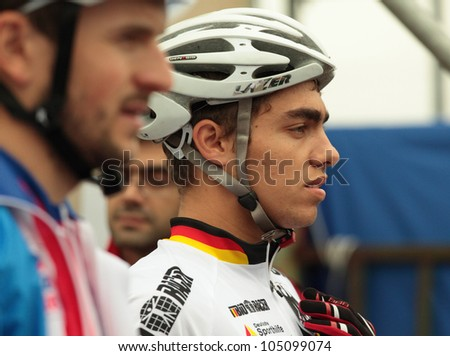 MOSCOW, RUSSIA - JUNE 7: Julian Schelb (Germany) on a start of team relay during European Mountain Bike Cross-country Championship in Moscow, Russia at June 7, 2012.