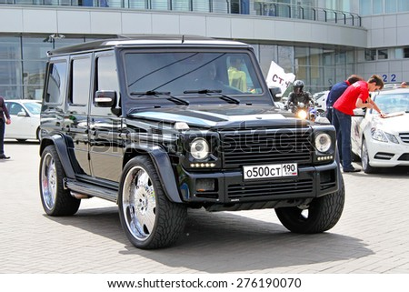 MOSCOW, RUSSIA - JUNE 2, 2012: Modern luxury car Mercedes-Benz W463 G-class at the Mercedes-Benz Trade Center. - stock photo