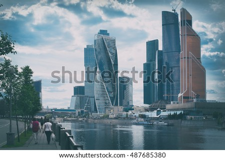 MOSCOW, RUSSIA - June 14, 2016: Moscow city skyscrapers (Moscow International Business Center) Retro styled