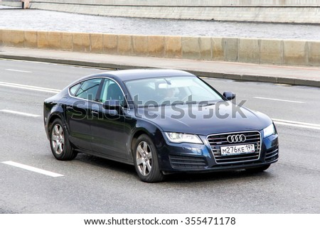 MOSCOW, RUSSIA - JUNE 2, 2013: Motor car Audi A7 at the city street. - stock photo