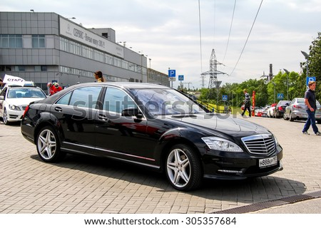 MOSCOW, RUSSIA - JUNE 2, 2012: Motor car Mercedes-Benz W221 S-class at the city street. - stock photo