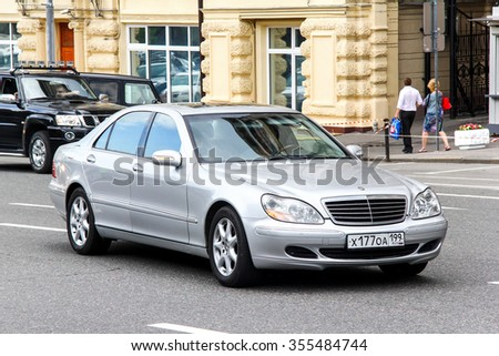 MOSCOW, RUSSIA - JUNE 2, 2013: Motor car Mercedes-Benz W220 S-class in the city street. - stock photo