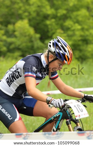 MOSCOW, RUSSIA - JUNE 7: Pauline Ferrand Prevot (France) in team relay during European Mountain Bike Cross-country Championship in Moscow, Russia at June 7, 2012.