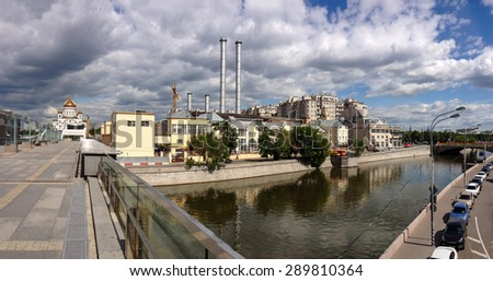 MOSCOW, RUSSIA - JUNE 10, 2015: Power station GES-2 Mosenergo at Bolotnaya embankment of Vodootvodni canal in Moscow, Russia on June 10, 2015.  - stock photo