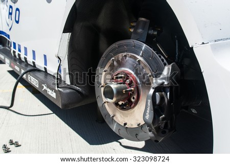 Moscow, Russia - JUNE 06: Racing brakes disk of WTCC car June 06, 2015 in Moscow, Russia - stock photo