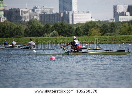 MOSCOW, RUSSIA - JUNE 9: Rowing competition on single sculls during 51th International Grand Moscow Regatta in Moscow, Russia on June 9, 2012