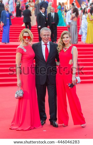 MOSCOW, RUSSIA - JUNE 23, 2016: Russian Federation Council member, Vyacheslav Fetisov (C) with wife Ladlena (L) and daughter Anastasia. Opening ceremony of the 38th Moscow International Film Festival.