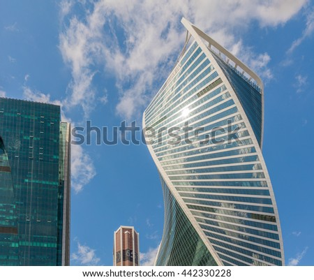MOSCOW. RUSSIA - JUNE 22, 2016: Skyscrapers of Moscow city business center. Moscow International Business Center also known as Moscow-City is commercial district in central Moscow - Russia