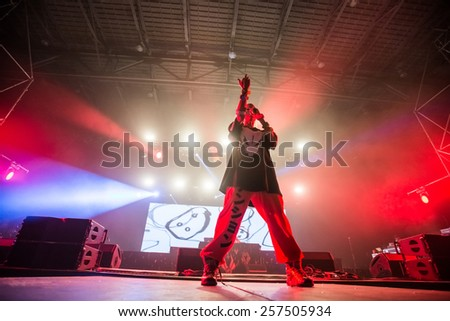 MOSCOW, RUSSIA - JUNE 28, 2014 - South African rap-rave group Die Antwoord performing live at Park Live festival at at the National Exhibition Centre on June 28, 2014 in Moscow, Russia - stock photo