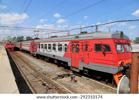 MOSCOW, RUSSIA - JUNE, 03 2015: Train on Leningradsky railway station-- is one of the nine main railway stations of Moscow, Russia