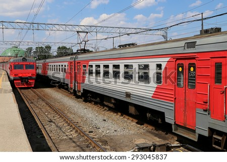 MOSCOW, RUSSIA - JUNE, 03 2015:Train on Leningradsky railway station-- is one of the nine main railway stations of Moscow, Russia