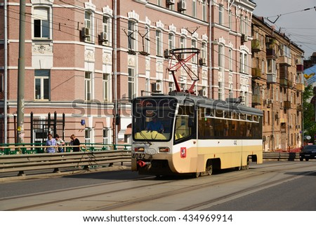Moscow, Russia - June 03.2016. Tram on the Krasnoselsky viaduct at Lower Krasnoselskaya street